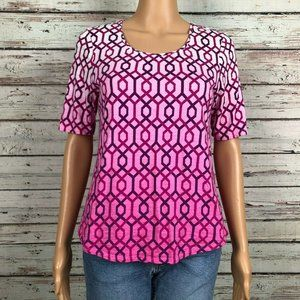 Chico's Ultimate T-shirt Pink Purple Ombre Print